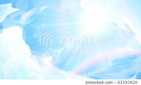 푸른 하늘과 태양과 무지개 배경 일러스트 _16 : 9 63197620