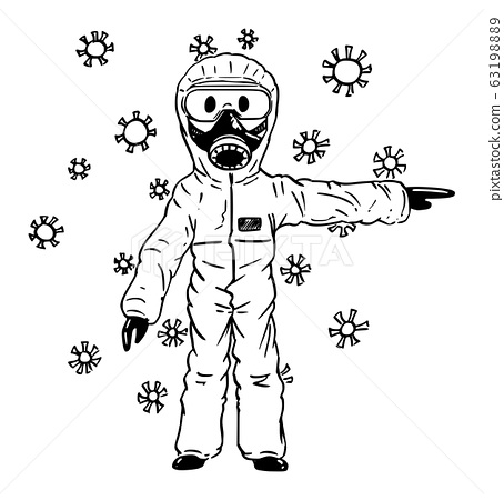 Vector Cartoon Illustration of Man Wearing Protective Suit and Face Mask Surrounded by Coronavirus Covid-19 Pointing at Something 63198889