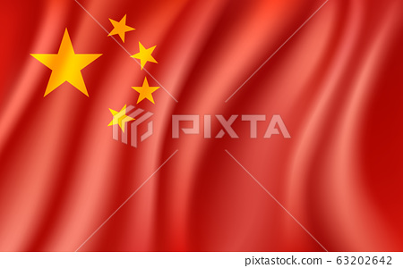 China Flag, Waving Chinese national flag background, vector illustration 63202642