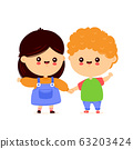Cute happy funny kids. Smiling boy and girl 63203424