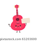 Cute happy smiling ukulele guitar with empty sign 63203600