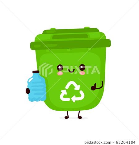 Cute happy smiling trash bin with plastic bottle 63204184