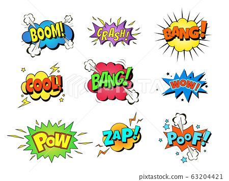 Collection multicolored comic sound Effects 63204421
