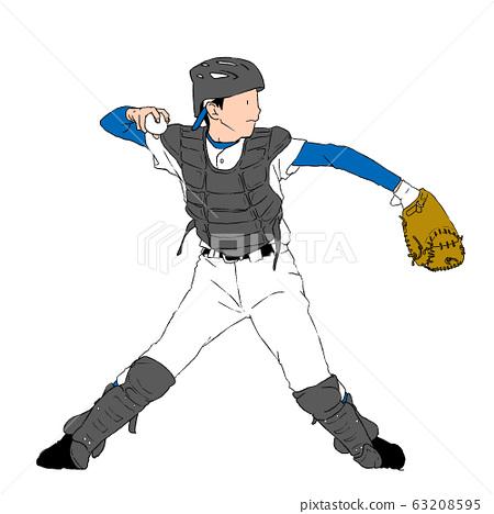 男孩棒球接球手 63208595