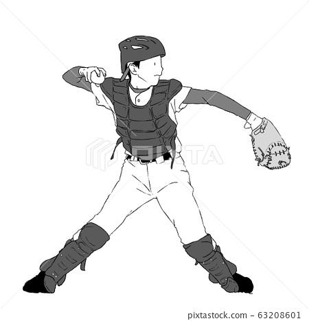 男孩棒球接球手 63208601