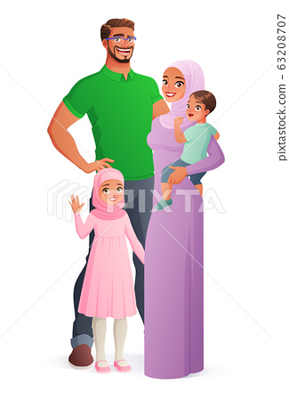 Happy Muslim family portrait. Isolated vector illustration. 63208707