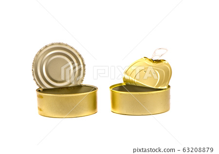 open and empty cans on white background 63208879