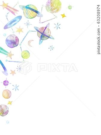 宇宙恆星背景框架水彩插圖垂直位置 63208974
