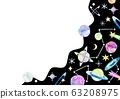 우주 별 배경 프레임 수채화 일러스트 63208975