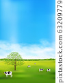Cow ranch landscape background 63209779