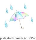장마 우산 컷 일러스트 수채화 일러스트 63209952