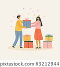 Man gives girl a birthday present vector illustration 63212944