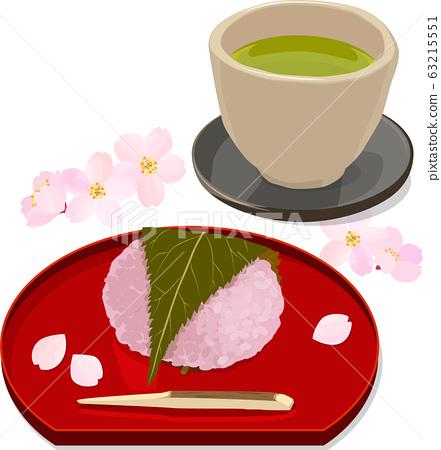 櫻花年糕,綠茶和櫻花的插圖 63215551