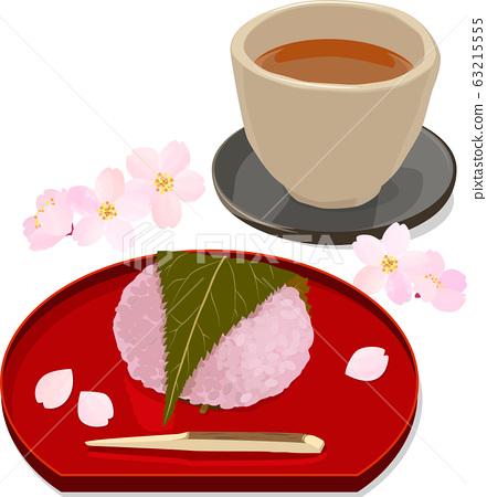 櫻花年糕,hojicha和櫻花的插圖 63215555
