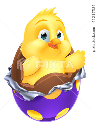 Easter Egg Chick Little Baby Chicken Bird Cartoon 63217586