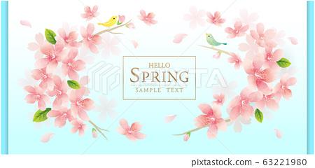 春天的花朵櫻花矢量圖 63221980
