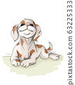 vector illustration spotted dog resting,sommer vacation nice 63225333