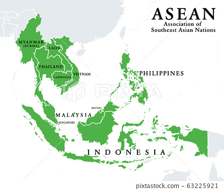 ASEAN member states, infographic and map. Association of Southeast Asian Nations, a regional intergovernmental organization with 10 member countries, shown with green color. Illustration. Vector. 63225921