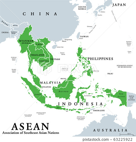 ASEAN member states, political map. Association of Southeast Asian Nations, a regional intergovernmental organization with 10 member countries, shown in the map in green color. Illustration. Vector. 63225922