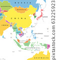 East Asia, single states, political map. All countries in different colors, with national borders, labeled with English country names. Eastern subregion of the Asian continent. Illustration. Vector. 63225923
