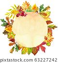 Beige round banner with colorful falling autumn 63227242