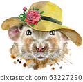Watercolor portrait of rat with a wide-brimmed 63227250