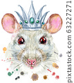 Watercolor portrait of white rat with silver crown 63227271