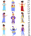 People Characters Wearing East Clothing Vector Illustrations Set 63227573