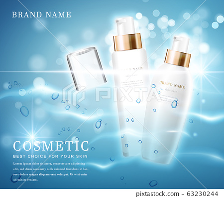 3D elegant cosmetic bottle container with shiny water glimmering background template banner. 63230244