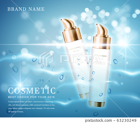 3D elegant cosmetic bottle container with shiny water glimmering background template banner. 63230249