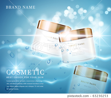 3D elegant cosmetic bottle container with shiny water glimmering background template banner. 63230253