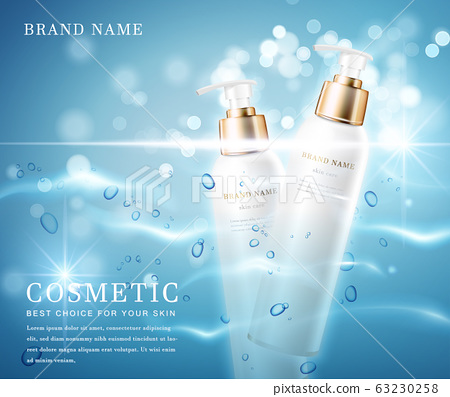 3D elegant cosmetic bottle container with shiny water glimmering background template banner. 63230258