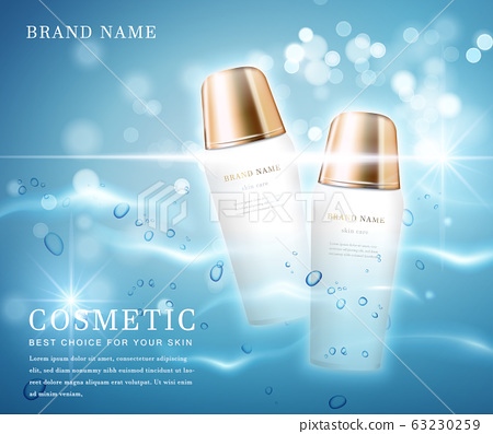 3D elegant cosmetic bottle container with shiny water glimmering background template banner. 63230259