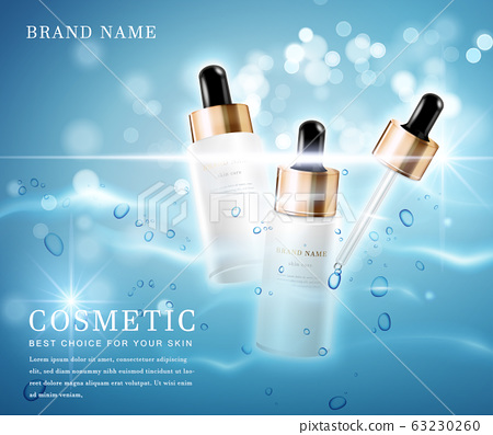 3D elegant cosmetic bottle container with shiny water glimmering background template banner. 63230260