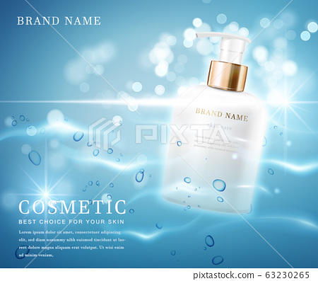 3D elegant cosmetic bottle container with shiny water glimmering background template banner. 63230265