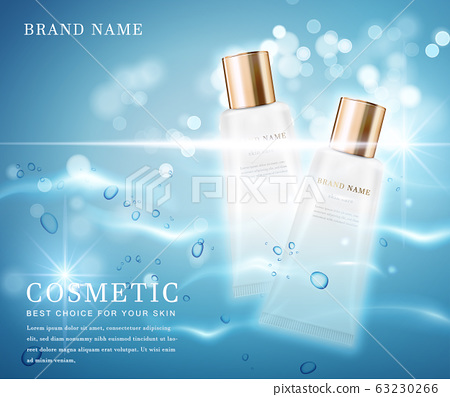 3D elegant cosmetic bottle container with shiny water glimmering background template banner. 63230266