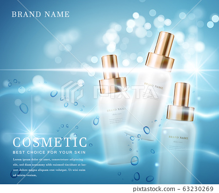 3D elegant cosmetic bottle container with shiny water glimmering background template banner. 63230269