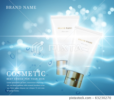 3D elegant cosmetic bottle container with shiny water glimmering background template banner. 63230270