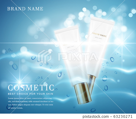 3D elegant cosmetic bottle container with shiny water glimmering background template banner. 63230271