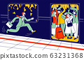 Man Running in Subway Platform to Crowded Train in Rushtime. People Pushing Each Other in Full Metro at Station 63231368