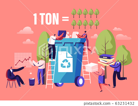 Less Paper Using, Stop Deforestation and Trees Cutting Concept. Tiny Male and Female Characters Throw Paper Waste 63231432