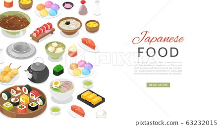 Japanese food with sushi rolls, sashimi, noodle and miso soup banner cartoon vector illustration. 63232015