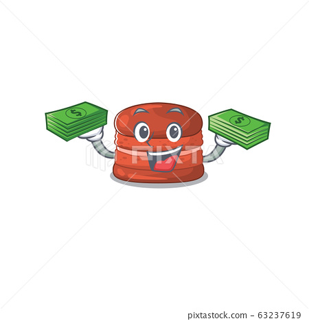 happy face cherry macaron character having money on hands 63237619