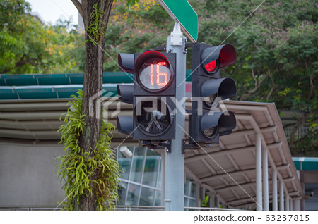 Pedestrian crossing traffic signal with timer and traffic lights 63237815