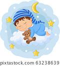 Cartoon baby sleeping with teddy bear on the clouds 63238639