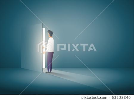 Businessman opening door. business concept. Symbol of new career. 63238840