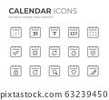 Calendar Date Line Icons Set 63239450