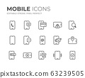 Mobile Phone Line Icons Set 63239505