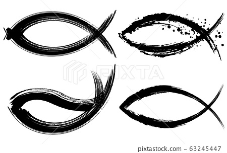 Fish handwritten brush illustration seafood logo 63245447