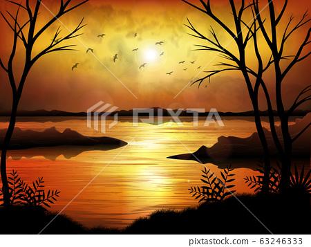Tropical sunset or sunrise with lake background 63246333